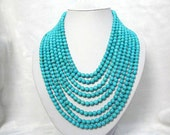 blue turquoise necklace,beadwork necklace,beaded necklace,statement necklace,beaded jewelry,strands necklace with turquoise beads