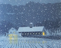 "Seven-color linocut print of a New England farmhouse in the early evening snow, entitled ""First Snow"""