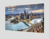 Canvas Panoramic Photograph Of Pittsburgh Skyline for Hera4844