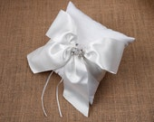 Now on sale!  Vanessa, Off white Satin bow with pearl and crystal center ring bearer pillow