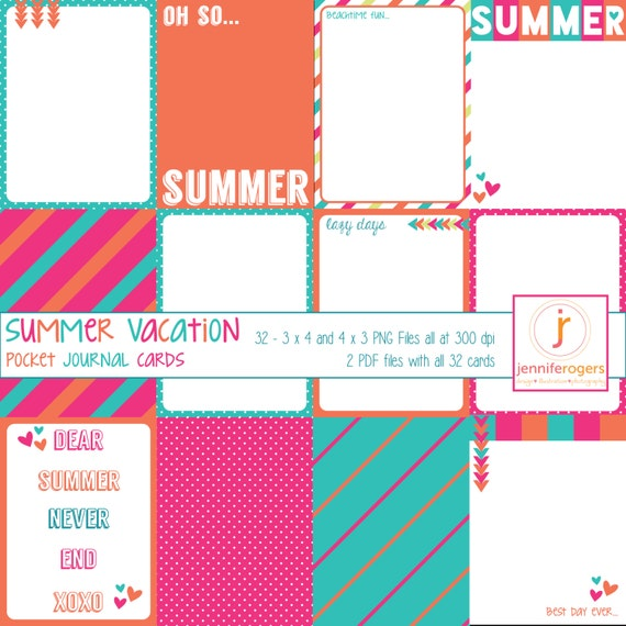 32 Cute Instant Download Printable Digital Pocket Journaling Scrapbook Cards, Summer Vacation, Project Life Inspired, Royalty Free