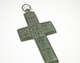 Vintage Very Large Cross Pendant - Large Cross - Christian - Crucifix - Via Cruces - Religious # 1226