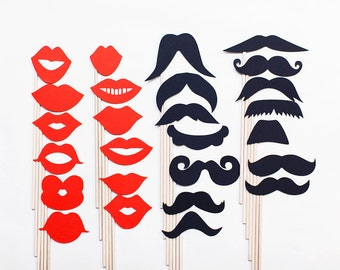 Mustache and Lips on a Stick Set - Set of 14 mustaches and 12 Lips on sticks - Great for weddings, photo booths and props