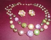 vintage earring and necklace set cluster beads pastels