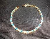 925 gold tone cz semi precious aqua marine bracelet -*