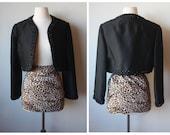 Black Vintage Cropped Blazer with Beautiful Black Beaded Trim