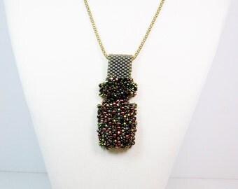 Bead Embellished Peyote Necklace, Bead Woven Necklace, Green Necklace, Seed Bead Necklace