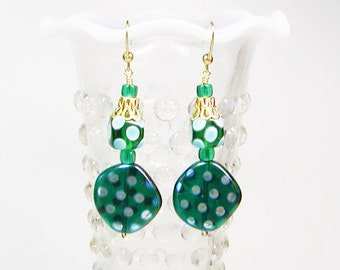 Turquoise Polka Dot Earrings, Lamp Work Earrings, Dangle Earrings
