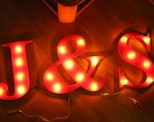 "16"" Wood letter light, wedding decor, distressed, vintage chic, home decor"