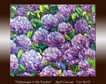 "Hydrangea Flower Oil Painting - Purple Flower - Garden Painting -Textured Impasto Palette Knife Small Canvas 8x10"" Original Wall Art"