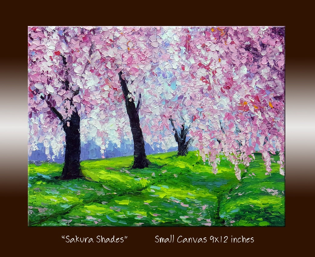 Cherry blossom sakura pink tree landscape oil painting with for Canvas painting of cherry blossoms