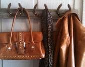 Reclaimed Barn Wood and Horseshoe Coat Rack Hat Rack Organizer, Towel Rack
