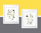 Gray and Yellow Kids Room Wall Decor Art Prints Modern animal alphabet poster, kids modern retro room