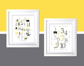 Grey and Yellow Kids Room Wall Decor Art Prints Modern animal alphabet poster, kids modern retro room, modern nursery art, minimalist print