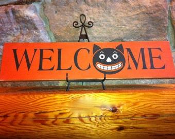Primitive Welcome Cat Halloween Sign