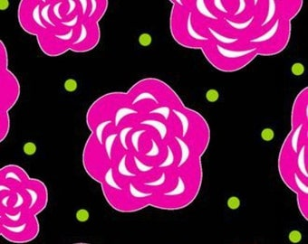 "Henry Glass Co. ""Tippy Toes"" Floral Rose on Black 1 Yard Cut"