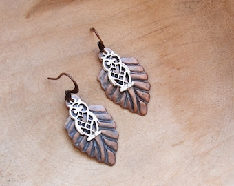 Woodland Owl Earrings Copper Leaves Silver plated Owls