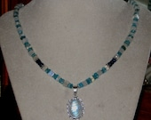 RESERVED for Beth Ready for the Beach Apatite Moonstone and Silver Necklace with Moonstone and Silver Pendant