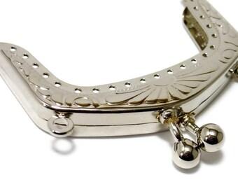 6.5 cm (2,56 in) silver sewing metal vintage purse frame F6.5/211