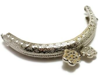 10 X Purse frame nikel 8.5cm  ( 3,35 in ) Flower-bead embossed metal bag F8.5/073