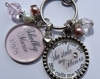 There's this girl she stole my heart she calls me mom gift keychain, New mom pink baby girl baby shower new parent pink  beautiful quote