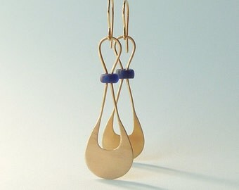 """Ancient Roman Glass and 14k Gold Dangle Earrings, """"Meet the Ancients"""""""