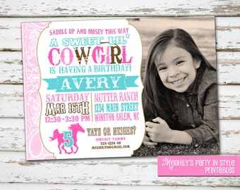 Western Cowgirl Birthday Invitation with Photo