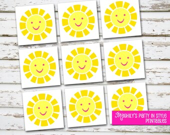 INSTANT DOWNLOAD - Sunshine 2 inch circles