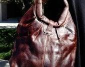 Dark Chocolate Brown Genuine Leather Handcrafted, Handmade Hobo Shoulder Bag