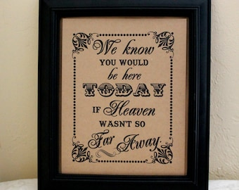 8 x 10 SIGN We Know You Would Be Here Today - Loved Ones / In Memory Of - Wedding Sign - Single Sheet (Style: HEAVEN)