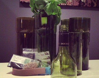 Recycled Self Watering Wine Bottle Planter  -- Bottle Only --