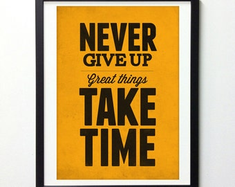 Never give up, Motivational poster, Typography print, Orange art, Quote wall art, Typography art, Inspirational, Wall decor, Positive quotes