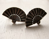 Hand Fan Napier sterling clip earrings. AGITATE THE AIR.