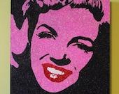 Pink Glitter Marilyn Monroe 14x14
