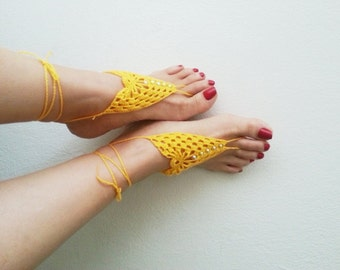 Yellow Barefoot Sandals, Nude shoes, Foot jewelry, Wedding, Victorian Lace, Sexy, Lolita, Yoga, Anklet