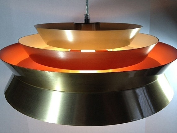 Danish mid century modern style chandelier ufo pendant by for Danish modern light fixtures