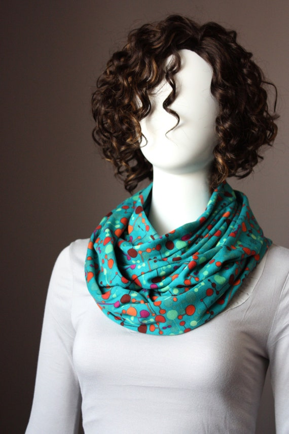 Turquoise ,  infinity scarf , abstract Polka dots , bright, soft, women scarves