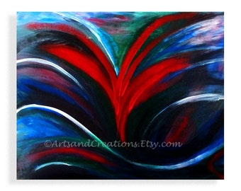 Acrylic Painting Blue Painting, Painting on Canvas, Original Painting, Blue Acrylic and Red Painting small dark blue sky original abstract