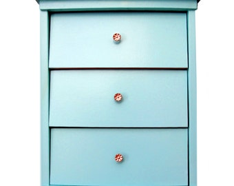 Nightstand Upcycled Mid Century Modern Aqua Blue Painted