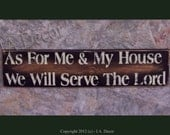 As for me and my house We will serve the Lord - Wall Sign - Black Distressed Christian wall plaque