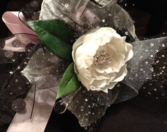 Custom Order White-Pink-Black Rose Toss or Prom Nosegay