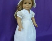 Cream and White Organza Regency Dress for American Girl Caroline
