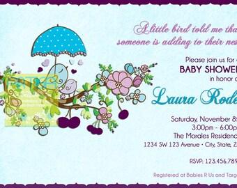 Birds Spring Baby Shower Invitation - Baby Birds Baby Shower Invitation - Blue and Purple Birds Baby Shower