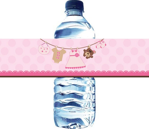 baby shower water bottle label girl baby shower water bottle label