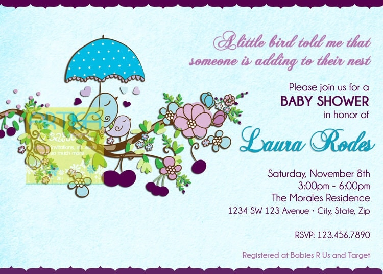 bird shower invites  etsy, Baby shower invitations
