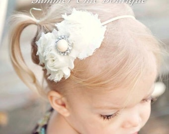 Baby Headband, Infant Headband, Newborn Headband. Girls Headband, Ivory Headband, Cream Headband,  - Shabby Chic Headband Ivory Headband