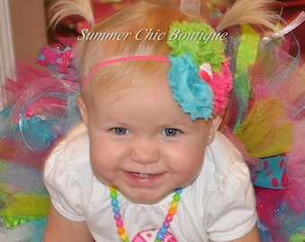 Baby Headband, Infant Headband, Newborn Headband - Birthday Headband - Shabby Chic Headband Pink, Aqua, and Lime Green Rosettes