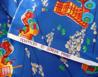 Cotton print fabric featuring heavy equipment