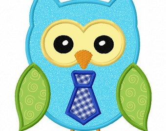 Instant Download Owl Boy  Applique Machine Embroidery Design NO:1294