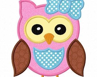 Instant Download Owl Girl  Applique Machine Embroidery Design NO:1293